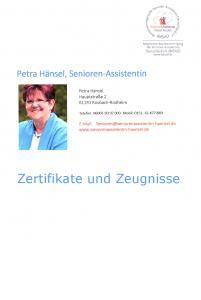 Zertifikate Petra Hänsel Seniorenassistenz Rosbach Wetterau
